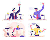 Man and Woman Stand Behind of Podium with Microphone Speaking with Index Finger Pointing Up. Candidate Speech, Lecture Political Discussion or Presidential Election. Cartoon Flat Vector Illustration