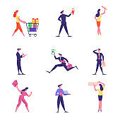 Set of Male and Female Business People Festive Season Shopping, Navigation and Earn Money, Characters Writing and Doing Presentation. Isolated Men and Women with Briefcase. Cartoon Vector Illustration