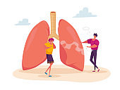 Female Character Coughing near Huge Lungs with Smoking Man, Pulmonology Asthma Disease, Respiratory System Health Care