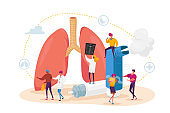 Pulmonology and Asthma Disease. Tiny Characters at Huge Lungs and Inhaler, Respiratory System Examination and Treatment