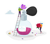 Perfumery Production. Tiny Perfumer Characters Holding Huge Flowers Ingredients for Creating New Perfume Composition