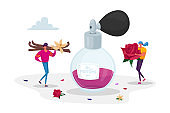 Fragrance, Toilet Water, Aroma, Perfumery. Tiny Perfumers Holding Huge Ingredients for Creating New Perfume Composition