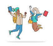 Happy Students Male and Female Characters Jumping with Notebooks. Schoolboy and Schoolgirl with Backpacks Waving Hands