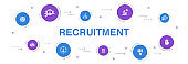 recruitment Infographic 10 steps template.career, employment, position, experience  simple icons