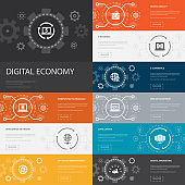 Digital economy Infographic 10 line icons banners. computing technology, e-business, e-commerce, data center simple icons