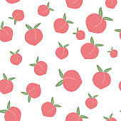 Seamless pattern with cartoon ripe peaches and leaves.