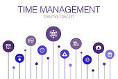 Time Management  Infographic 10 steps template. efficiency, reminder, calendar, planning simple icons