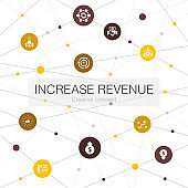 increase revenue trendy web template with simple icons. Contains such elements as Raise prices, reduce expenses, best practices, strategy
