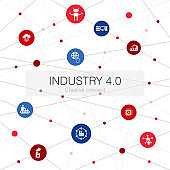 Industry 4.0 trendy web template with simple icons. Contains such elements as internet, automation, manufacturing, computing