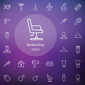 barbershop outline, thin, flat, digital icon set