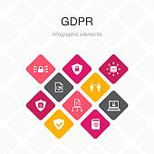 GDPR Infographic 10 option color design.data, e-Privacy, agreement, protection simple icons