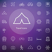 travel outline, thin, flat, digital icon set
