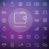 finance outline, thin, flat, digital icon set