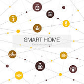 Smart home trendy web template with simple icons. Contains such elements as motion sensor, dashboard, smart assistant, robot vacuum
