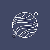 Mars. Planet line icon illustration. Sign, symbol of space.