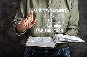 Self development, education, learnig, training, skill. Woman are clicking virtual screen.