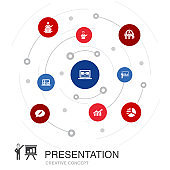 presentation colored circle concept with simple icons. Contains such elements as  lecturer, topic, business presentation, diagram