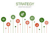 Strategy Infographic 10 steps template.goal, growth, process, teamwork simple icons