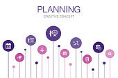 planning  Infographic 10 steps template.calendar, schedule, timetable, Action Plan simple icons