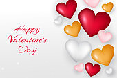 Realistic valentine's day background. Valentines Day banner. gold, red, pink and white 3d heart shapes