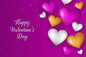 Realistic valentine's day background. Valentines Day banner. gold, pink and  white 3d heart shapes