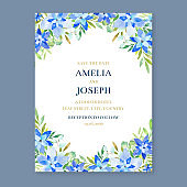 Watercolor floral wedding invitation, painted floral border card