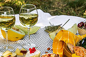 Picnic with glasses of white wine on a vineyard. Two glasses of white wine, cheese, bread, grape, berries, melon.