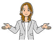 Spread both hands, upper body of a businesswoman wearing a gray jacket
