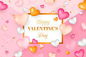 Realistic valentine's day background. Valentines Day banner. gold, pink and white 3d heart shapes with glitter and confetti