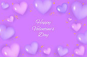Realistic valentine's day background. Valentines Day banner. purple 3d heart shapes with gold glitter and confetti