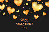 Realistic Golden Valentines day background, golden heart shapes and confetti.