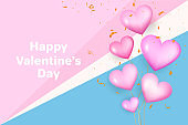 Realistic valentine's day background. Valentines Day banner. pink 3d heart shapes with glitter and confetti