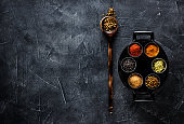 Various spices seasoning spicy, in a pan top view. Indian spices cooking