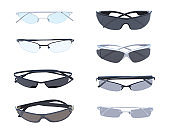folded glasses collection isolated on white