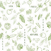 Seamless pattern with hand drawn vegetables.