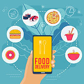 Hand holding smartphone and icons with of different types of fast food. Flat illustration.