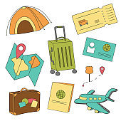Cartoon set of icons of tourism, air travel, summer vacation planning, adventure