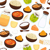 Vector seamless pattern with probiotic foods. Best sources of probiotics. Beneficial bacteria improve health