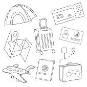 Cartoon set of icons of tourism, air travel - coloring book