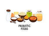Vector probiotic foods. Best sources of probiotics. Beneficial bacteria improve health. Design is for label, brochure