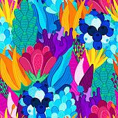 Floral seamless pattern. Hand drawn beautiful flowers. Colorful repeating background with blossom. Speckled petals