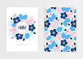 Cover design with floral pattern and round frame. Hand drawn flowers. Colorful artistic background with blossom