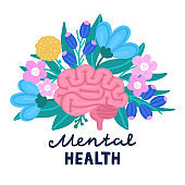 Vector healthy brain on flowers. Illustration for label of medicine, advertisement poster or banner