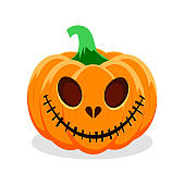 Halloween pumpkin with happy face on white background. Vector Illustration