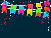 Colorful Party Flags With Confetti And Ribbons Falling. Celebrate banner