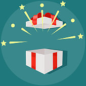 Open an empty white gift box with a red ribbon. Surprise gift box. Birthday party