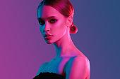 Fashion colorful beauty makeup portrait