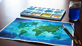 world map watercolor painting art illustration design hand drawing selected focus