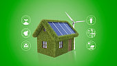 Sustainable development, ecology and environment protection concept, House with Solar energy and turbine surrounded with sustainability icons, renewable energy, people and natural resources, recycling