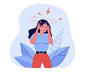 Woman feeling vertigo or dizzy